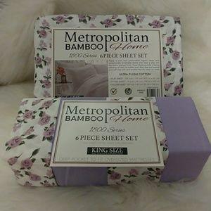 Metropolitan Bamboo King Purple Floral Sheet Set